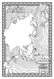 Black and white map colouring page with flow lines, chinese boy character, asian kite and statue
