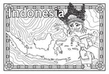 Black and white map of Indonesia with decorative border and background, and Indonesian girl character in traditional dress