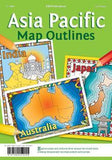 Colourful Asia Pacific map illustrations on leaf green background