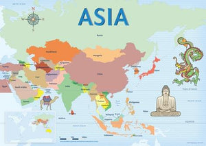 Map of Asia with country borders, camel, Buddha, in relation to Australia