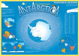 Map of Antarctica on blue background, with diagrams of Pangaea and Gondwana