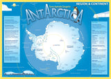 Map of Antarctica on blue background, with information about poles, temperature, peaks, icecaps