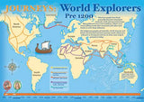 World explorers map poster, pre 1200