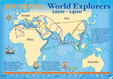 World explorers map poster, 1200–1400