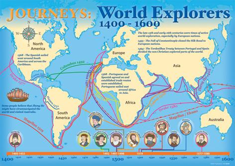 World explorers map poster, 1400–1600
