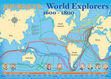 World explorers map poster, 1600–1800