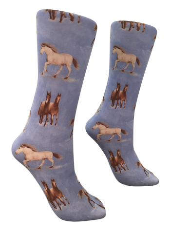 Soxtrot Knee High - Denim Horses