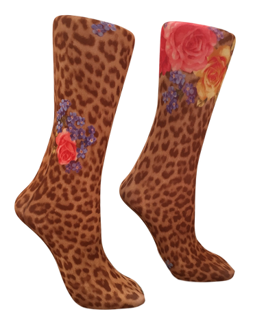 Soxtrot Knee High - Leopard Rose