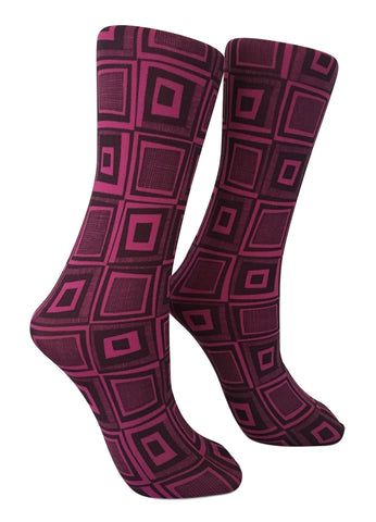 Soxtrot Knee High - Cool Squared Magenta
