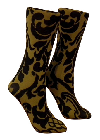 Soxtrot Knee High - Cartoon Damask Leaf
