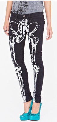 Iron Fist Skeleton Jeans, Feminine Clothing, Iron Fist, Club Freak for Goth and Fetish Fashion