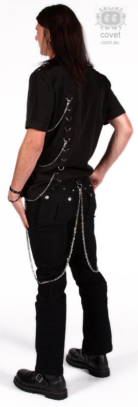 Covet Couture Boot Cut Studded Bondage Pants, Masculine Clothing, Covet Couture, Club Freak for Goth and Fetish Fashion