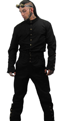 Necessary Evil Steam Punk Snap Up Long Sleeve Top, Masculine Clothing, Necessary Evil, Club Freak for Goth and Fetish Fashion
