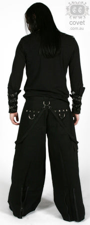 Covet Couture Wide Leg Studded Bondage Pants, Masculine Clothing, Covet Couture, Club Freak for Goth and Fetish Fashion