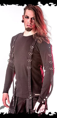 Queen of Darkness D-Ring Top, Masculine Clothing, Queen of Darkness, Club Freak for Goth and Fetish Fashion