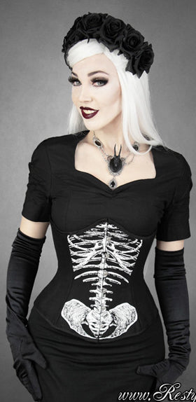 Restyle Skeleton Underbust, Feminine Clothing, Restyle, Club Freak for Goth and Fetish Fashion