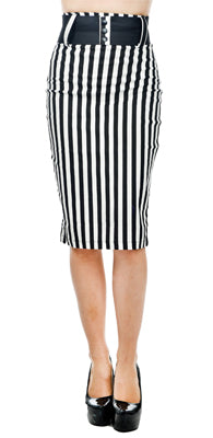 Switchblade Stripe Skirt With Belt, Feminine Clothing, Switchblade Dames, Club Freak for Goth and Fetish Fashion