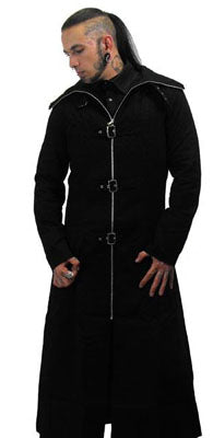 Necessary Evil Hooded Strap Trench Coat, Masculine Clothing, Necessary Evil, Club Freak for Goth and Fetish Fashion