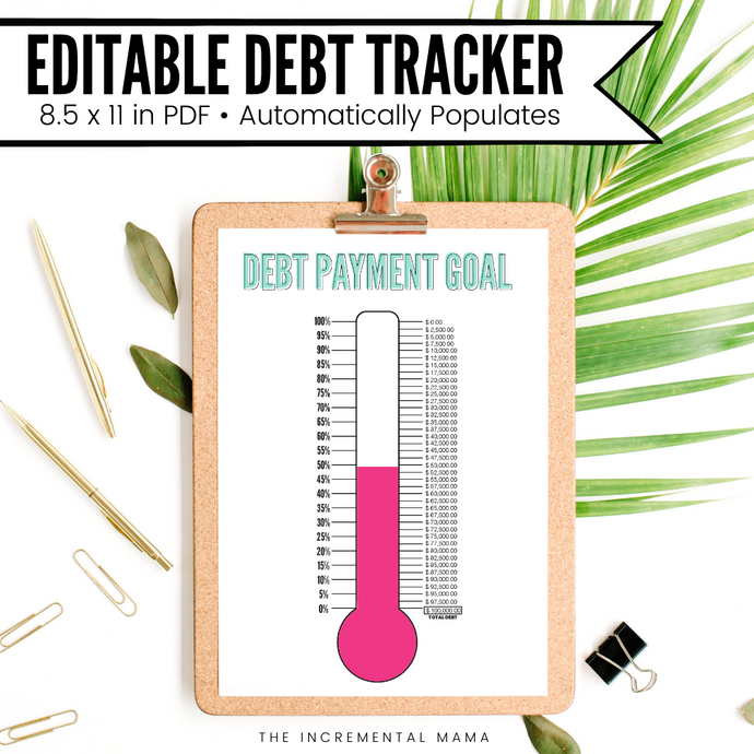 Editable Debt Thermometer Printable - Instant Download