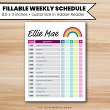 Load image into Gallery viewer, Rainbow Kid's Daily Schedule - Fillable Instant Download