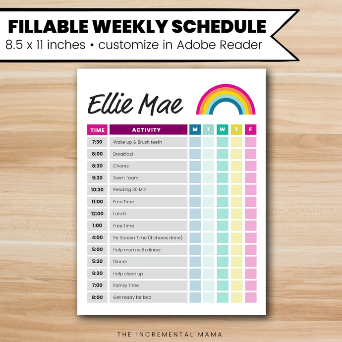 Rainbow Kid's Daily Schedule - Fillable Instant Download