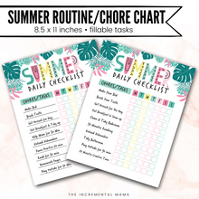 Load image into Gallery viewer, Summer Chore Chart for Kids/Routine Chart (Editable PDF) - Instant Download