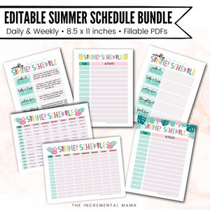 Daily & Weekly Summer Schedule Bundle (Editable PDFs) - Instant Download
