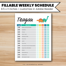 Load image into Gallery viewer, Dinosaurs Kid's Daily Schedule - Fillable Instant Download