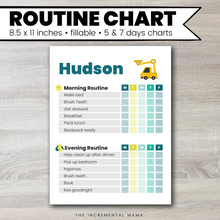 Load image into Gallery viewer, Truck Morning/Evening Routine Chart - Fillable Instant Download