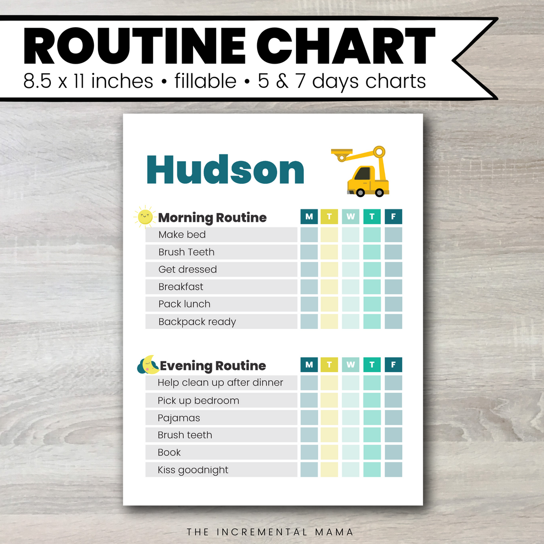 Truck Morning/Evening Routine Chart - Fillable Instant Download