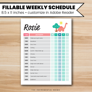 Pink Dino Kid's Daily Schedule - Fillable Instant Download