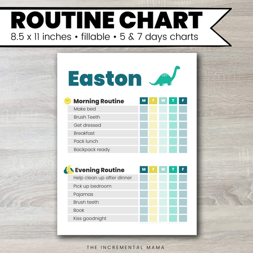 Dino Morning/Evening Routine Chart - Fillable Instant Download