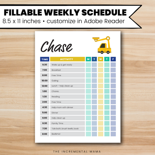 Tractor Kid's Daily Schedule - Fillable Instant Download
