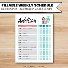 Load image into Gallery viewer, Mermaid Kid's Daily Schedule - Fillable Instant Download