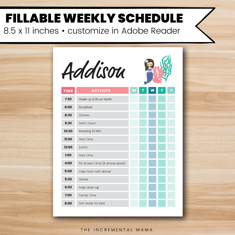 Mermaid Kid's Daily Schedule - Fillable Instant Download