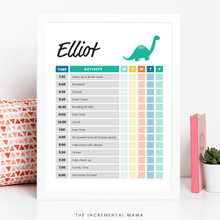 Load image into Gallery viewer, Green Dino Kid's Daily Schedule - Fillable Instant Download