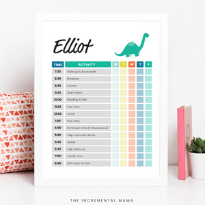 Green Dino Kid's Daily Schedule - Fillable Instant Download