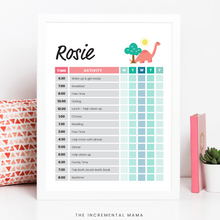 Load image into Gallery viewer, Pink Dino Kid's Daily Schedule - Fillable Instant Download
