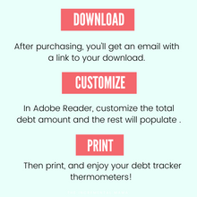 Load image into Gallery viewer, Editable Debt Thermometer Printable - Instant Download