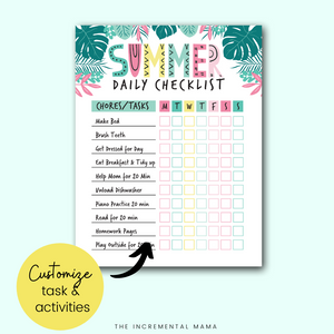 Summer Chore Chart for Kids/Routine Chart (Editable PDF) - Instant Download