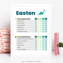Load image into Gallery viewer, Dino Morning/Evening Routine Chart - Fillable Instant Download