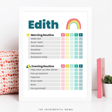 Load image into Gallery viewer, Rainbow Morning/Evening Routine Chart - Fillable Instant Download