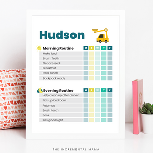 Kid's Morning/Evening Routine Chart Bundle - Fillable Instant Download