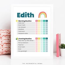 Load image into Gallery viewer, Kid's Morning/Evening Routine Chart Bundle - Fillable Instant Download