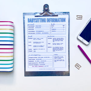 Editable Babysitting Information Sheet - Instant Download