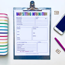 Load image into Gallery viewer, Editable Babysitting Information Sheet - Instant Download