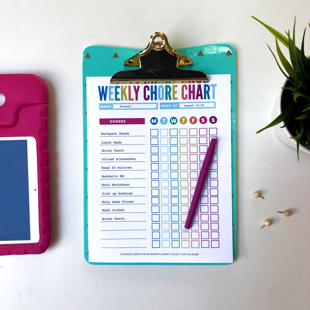 Fillable Chore Charts for Kids - Instant Download