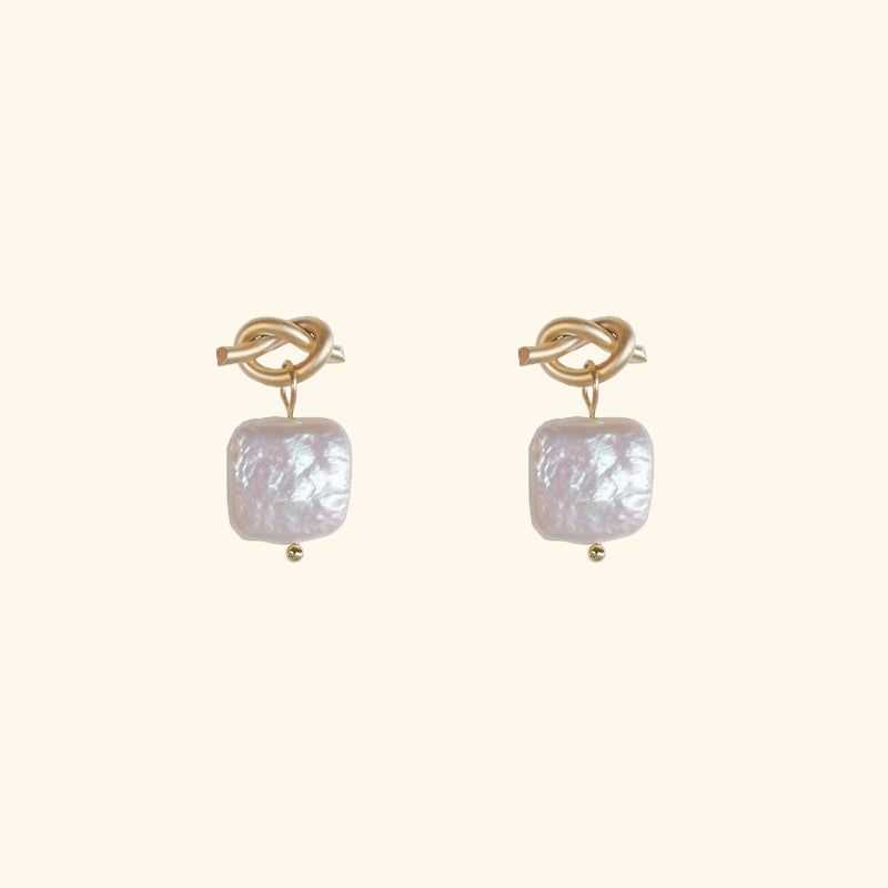 Keshi square pearl drop gold earrings l Shop Lonna