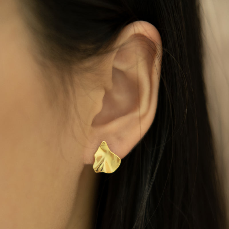 Irregular gold crinkle stud earrings on women l Shop Lonna