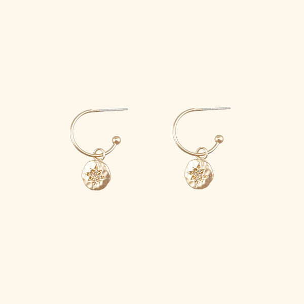 Star gold hoop earring l Shop Lonna